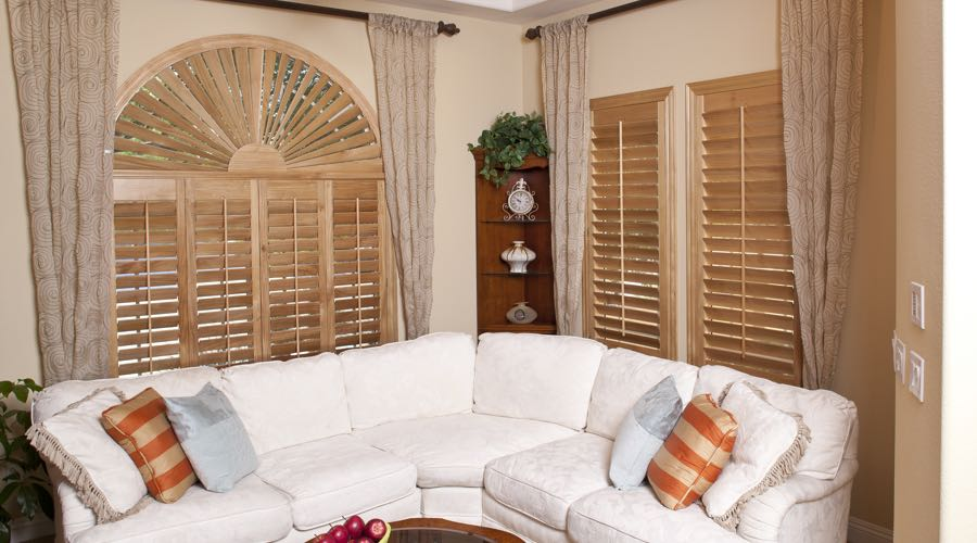 Sunburst Arch Ovation Wood Shutters In Chicago Living Room