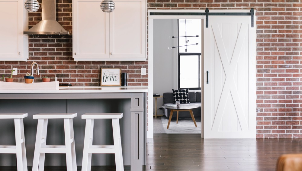 Chicago exposed brick barn door