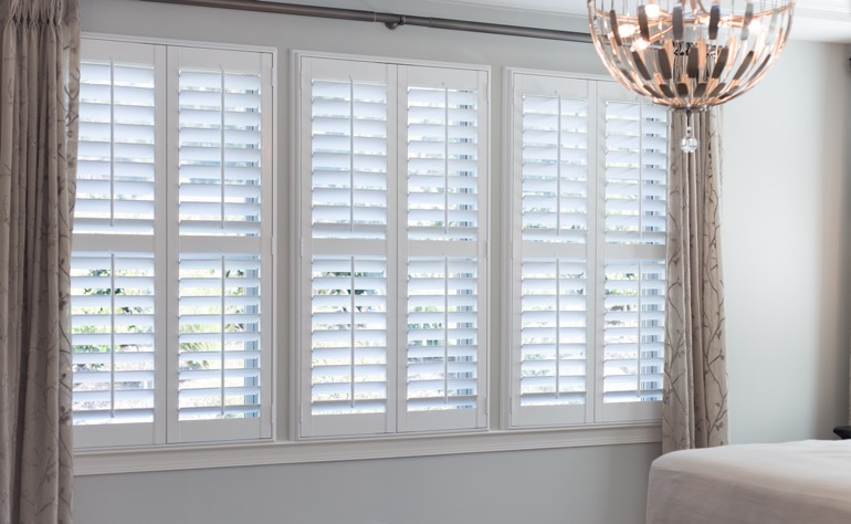 Chicago plantation shutters master bedroom