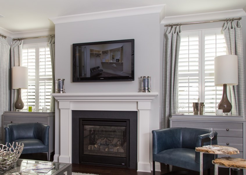 tv room Chicago faux wood shutters