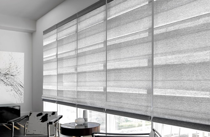 Light gray shades covering wide business window