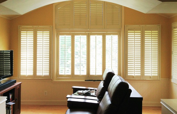 Chicago plantation shutters in tv room
