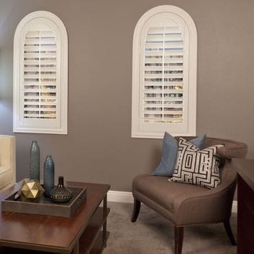 Chicago family room plantation shutters.