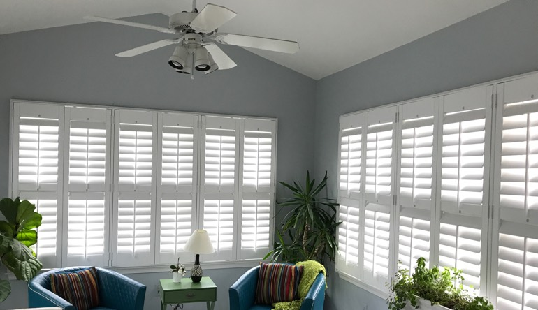 Chicago living room with fan and shutters