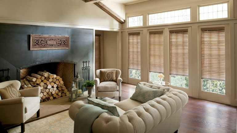 Chicago fireplace with blinds