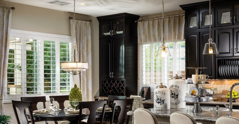 Chicago kitchen dining room with plantation shutters.