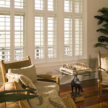 Chicago living room plantation shutters.