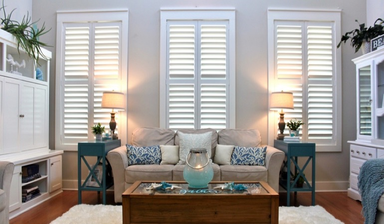 Chicago designer house with faux wood shutters