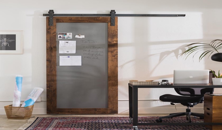 Chicago home office barn door