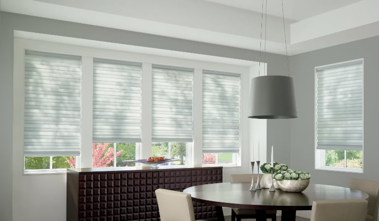 Cellular shades in a Chicago dining room.