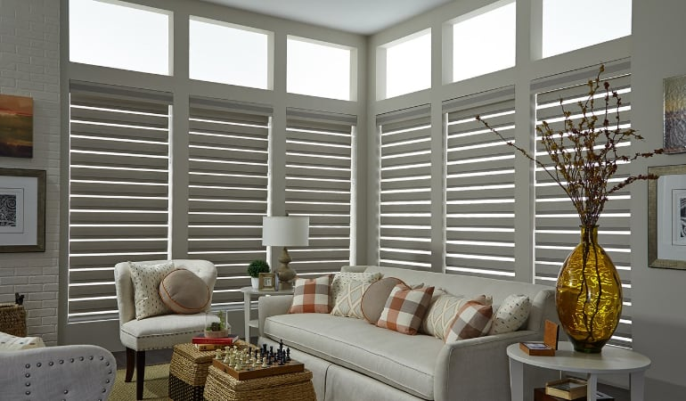 Motorized shades in a Chicago living room.