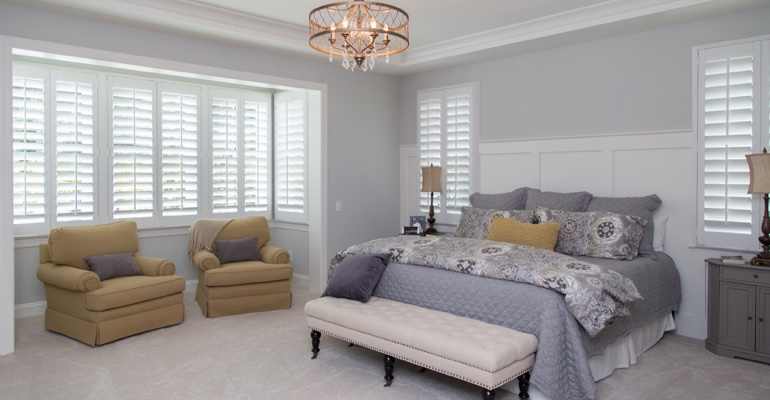 White shutters in Chicago bedroom.