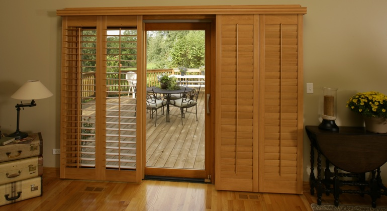 Chicago wood shutter sliding door