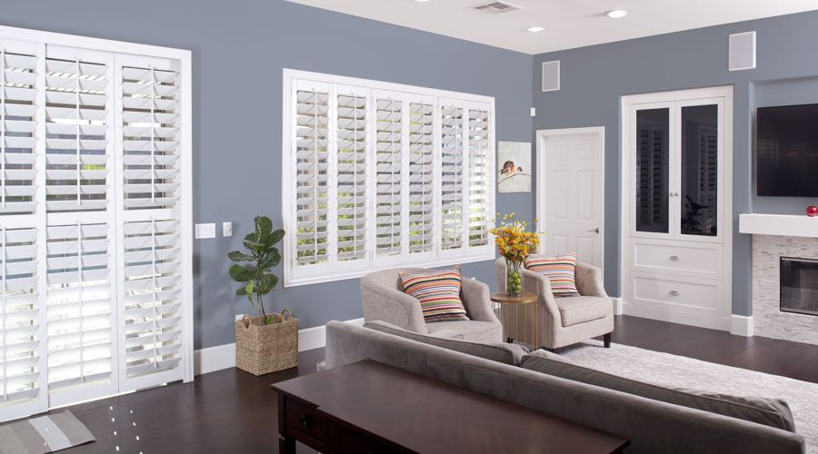 Faux Wood Shutters In blue Chicago Living Room