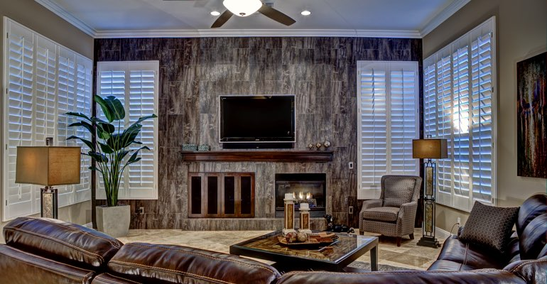 Chicago living room with shutters