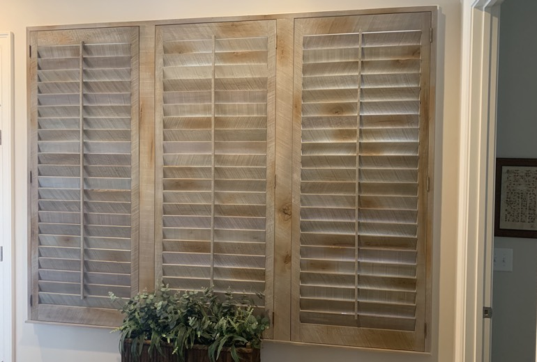 Closed reclaimed wood shutters in Chicago