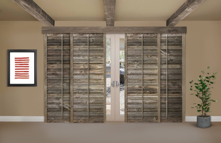 Reclaimed Wood Shutters On A Sliding Glass Door In Chicago - Reclaimed Wood Shutters For Sale Sunburst Shutters Chicago, IL