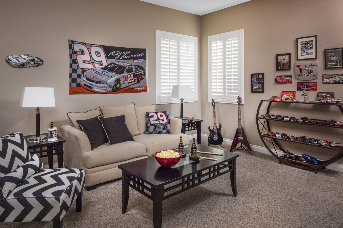 Chicago man cave with shutters