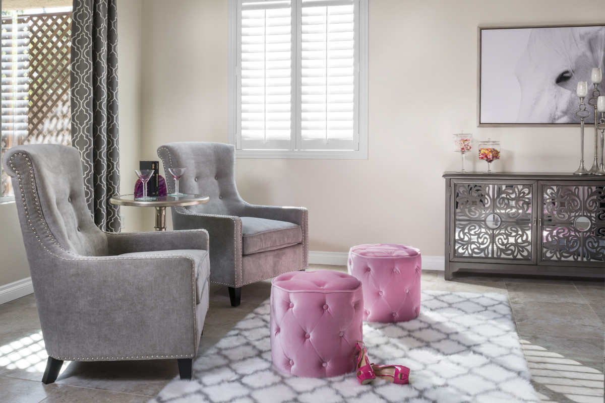 Chicago pink living room with shutters