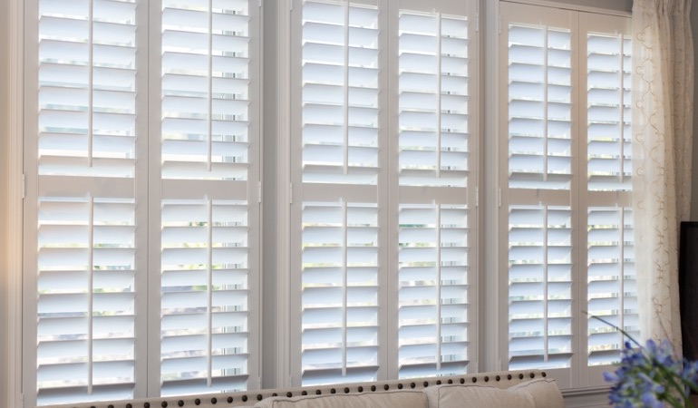 Faux wood plantation shutters in Chicago