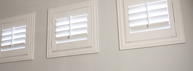 Small Windows in a Chicago Garage with Plantation Shutters