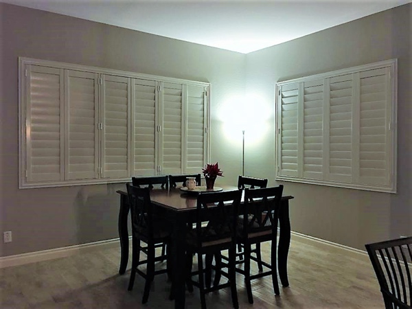 traditional shutters in dining room