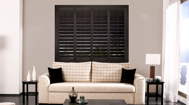 Chicago sitting room with black shutters.
