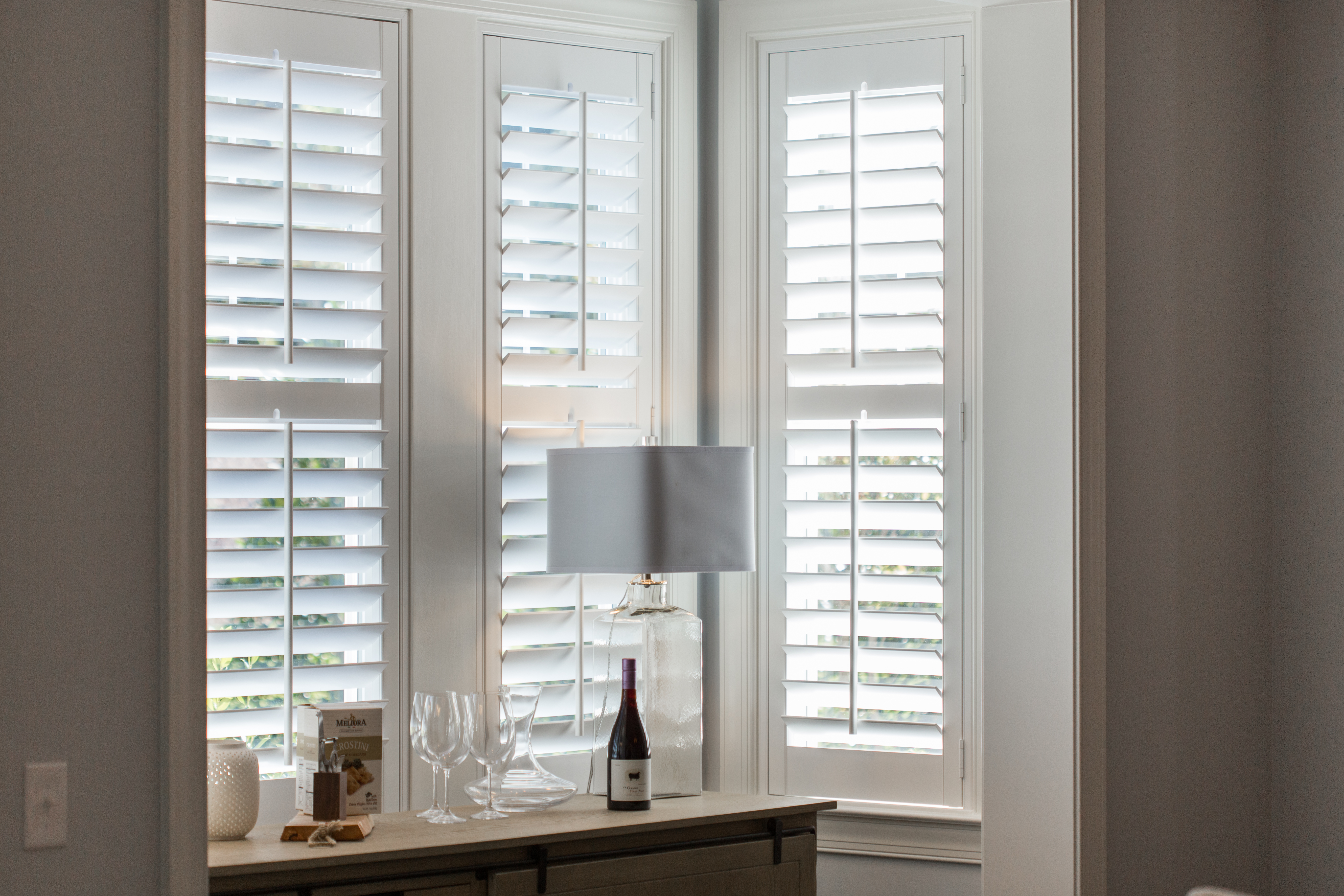 Plantation shutters in Chicago alcove.