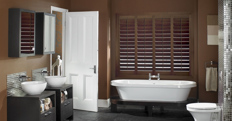Chicago bathroom shutters wood stain