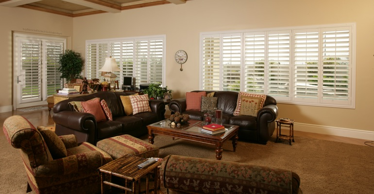 Chicago great room with white shutters.