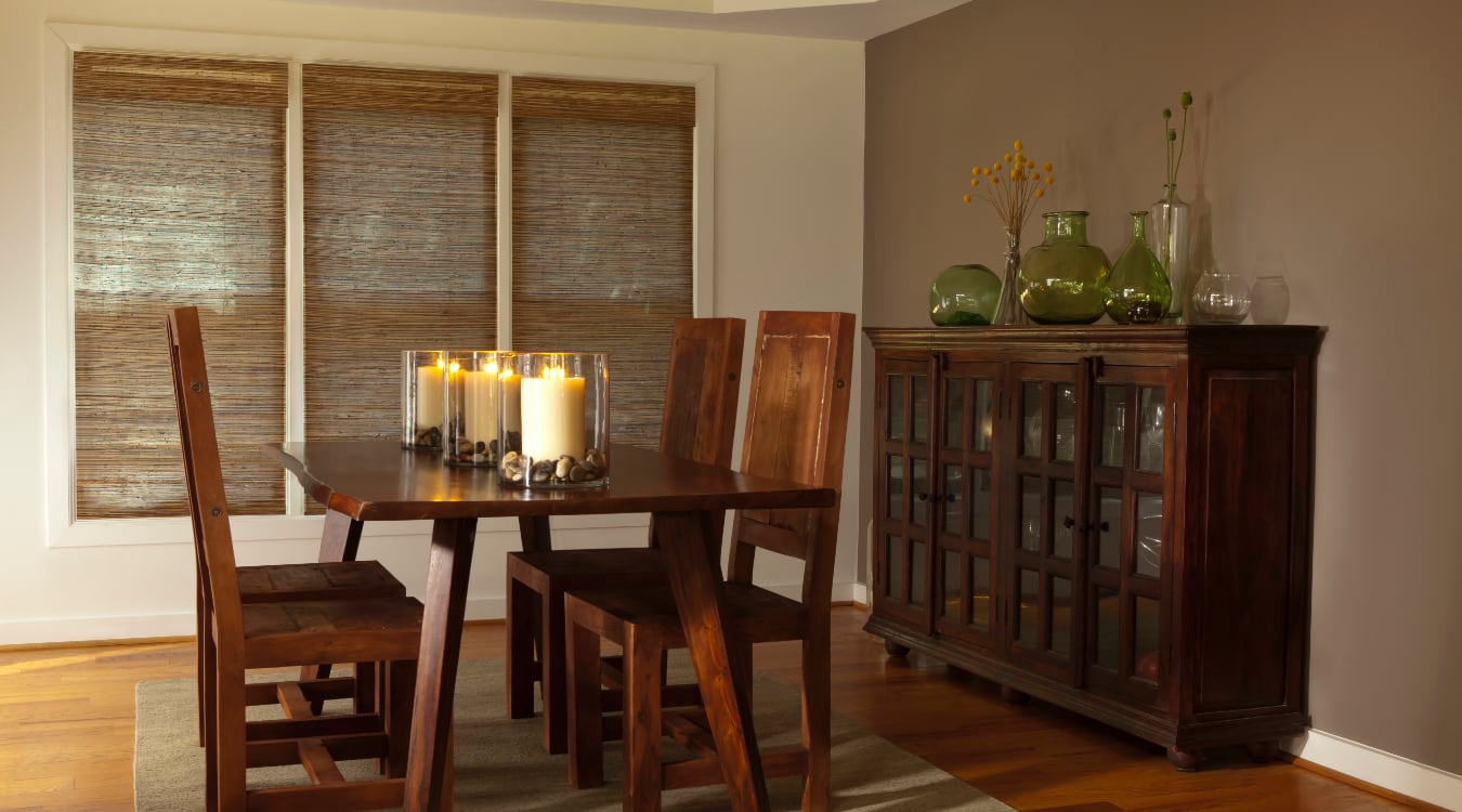 Woven shutters in a Chicago dining room.