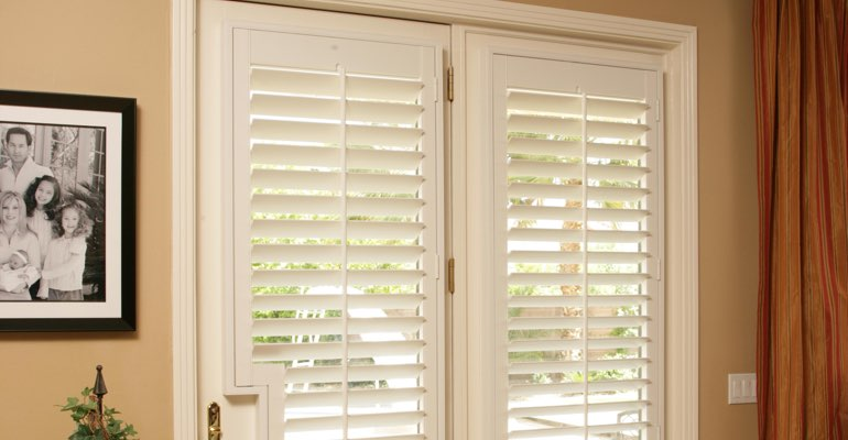 Chicago french door white shutters