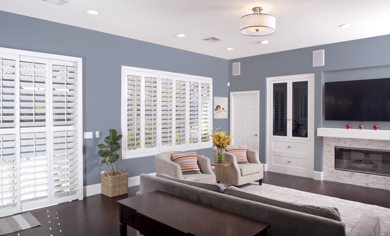 Plantation Shutters In A Chicago Living Room.