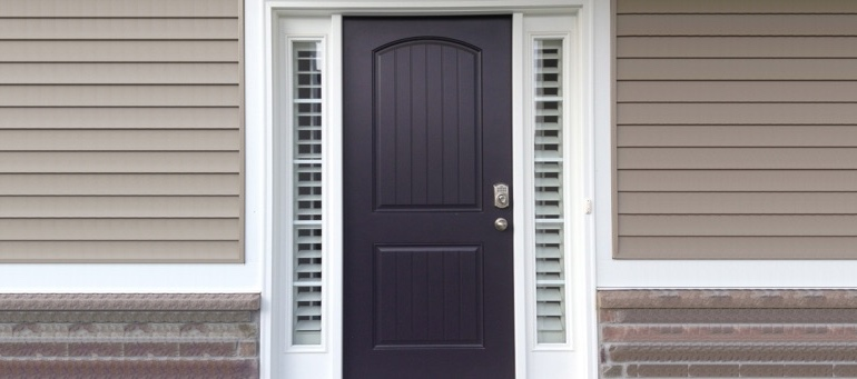 Sidelight Shutters On Black Door In Chicago, IL