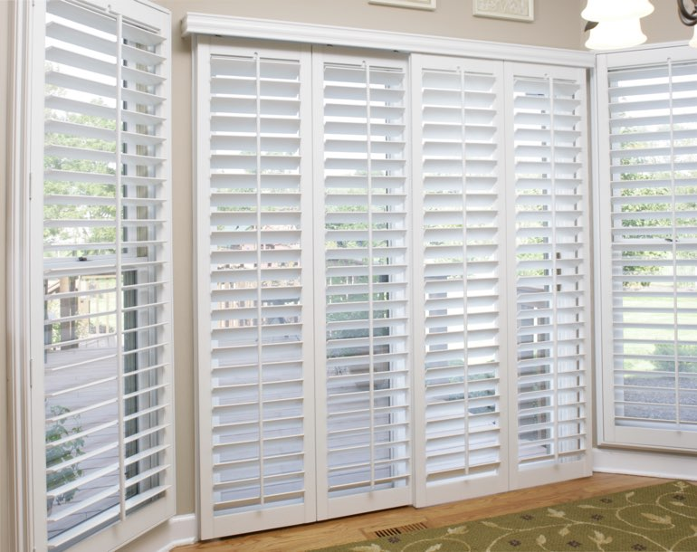 Sliding glass door with plantation shutters Chicago
